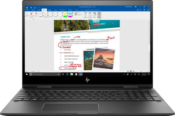 HP Envy x360 Laptops writing on screen