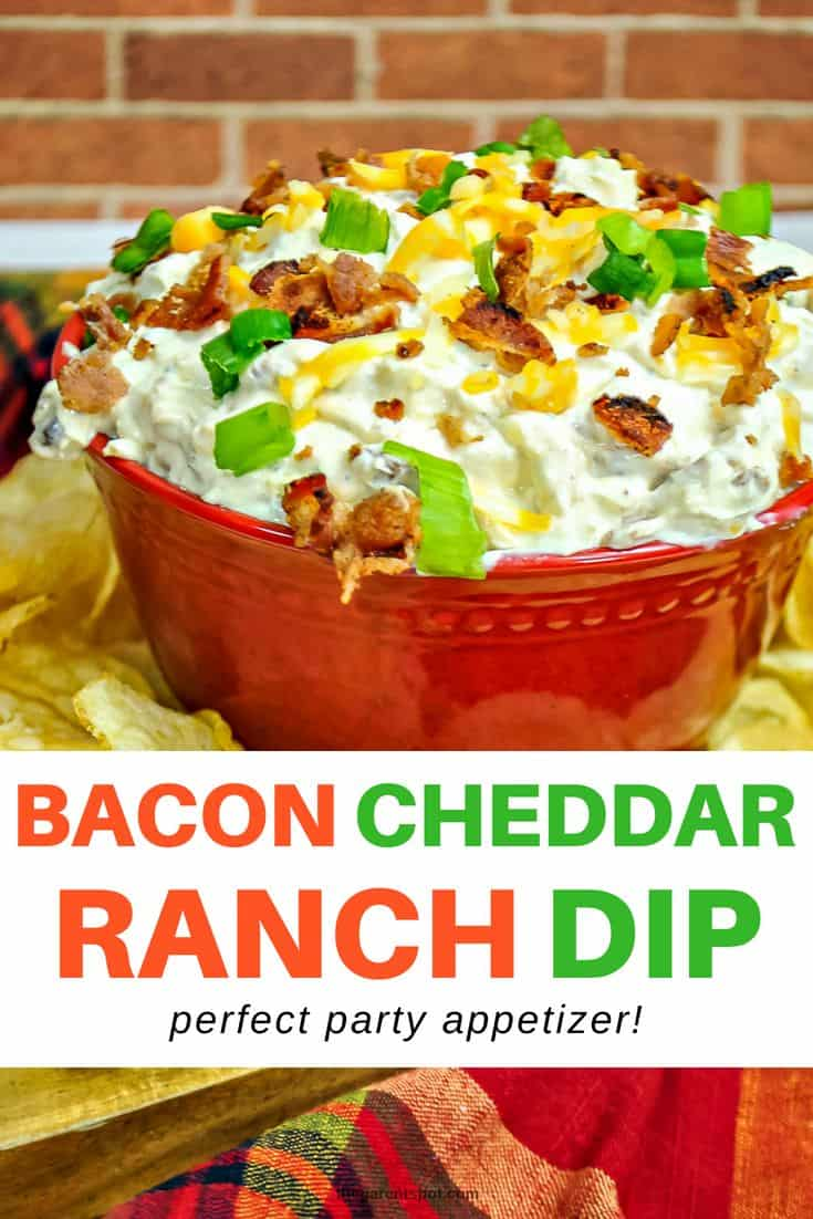 Our tasty bacon cheddar ranch dip the perfect party appetizer for Super Bowl or any party! It's made with sour cream, green onions, and served cold. So good! See more on the blog. #dip #recipe #appetizer #superbowl #snack #food