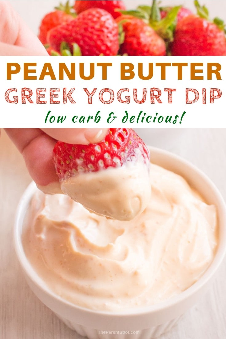 Greek yogurt dessert dip with peanut butter that's low carb and keto friendly