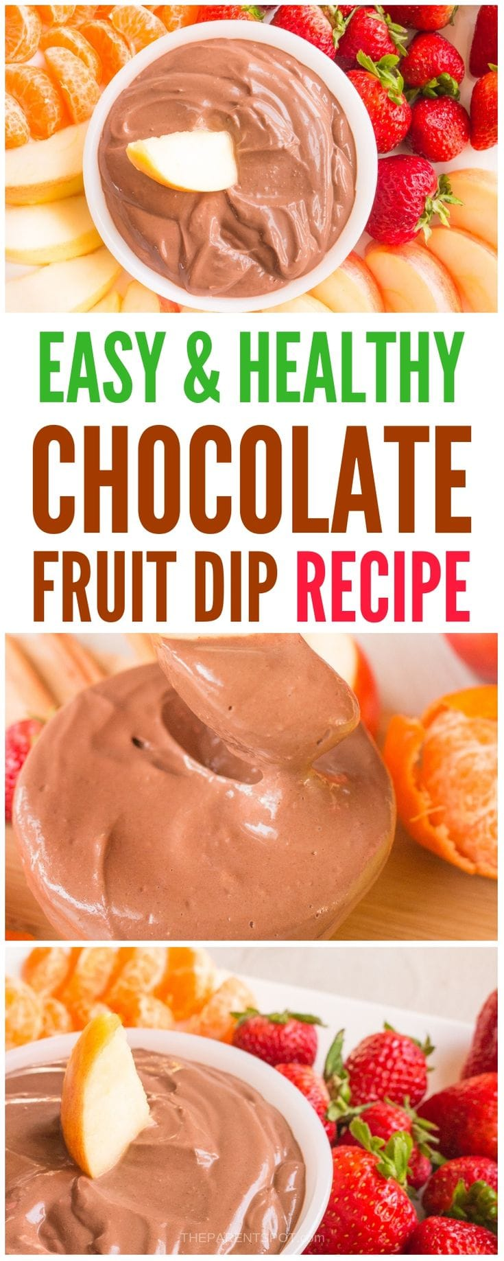 chocolate fruit dip recipe that is easy healthy and made with only 3 ingredients