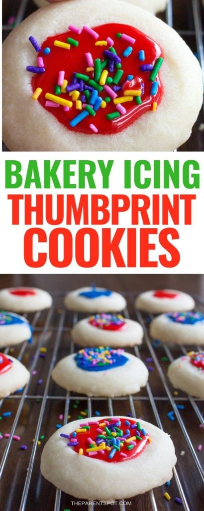 red and white image of bakery thumbprint cookies with icing and sprinkles in assorted colors
