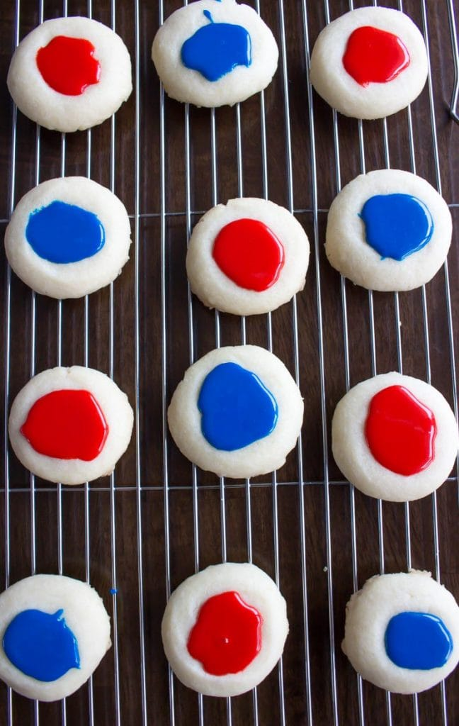 thumbprint cookies with icing but no sprinkles blue and red