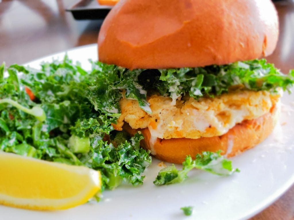 Chefs Plate white bean burgers and kale salad