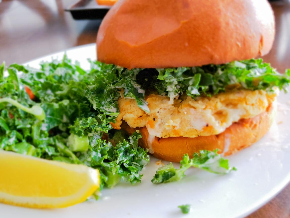 Chefs Plate review with vegetarian White Bean Burger and Kale Caesar Salad