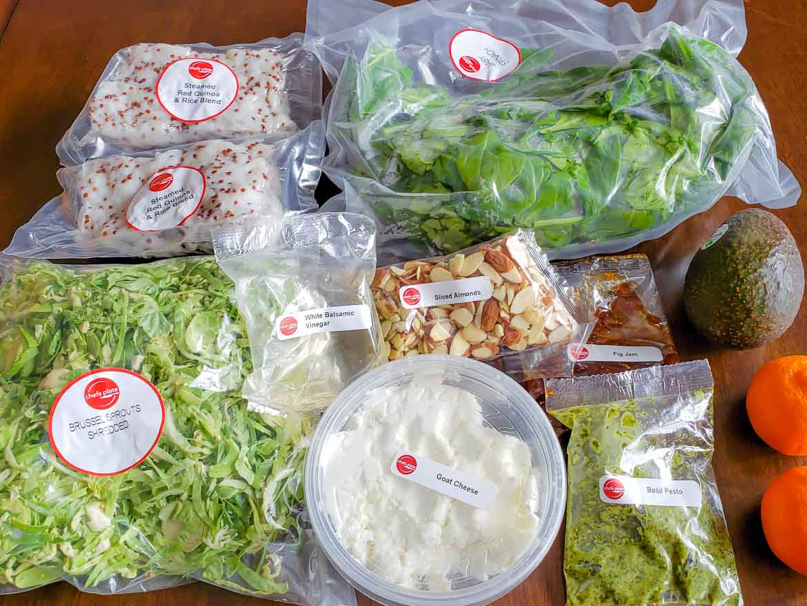 Chefs Plate review  Goat Cheese and Pesto Salad ingredients in packaging