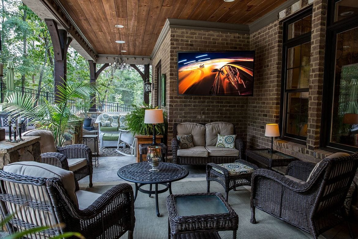SunBrite outdoor TV on a patio