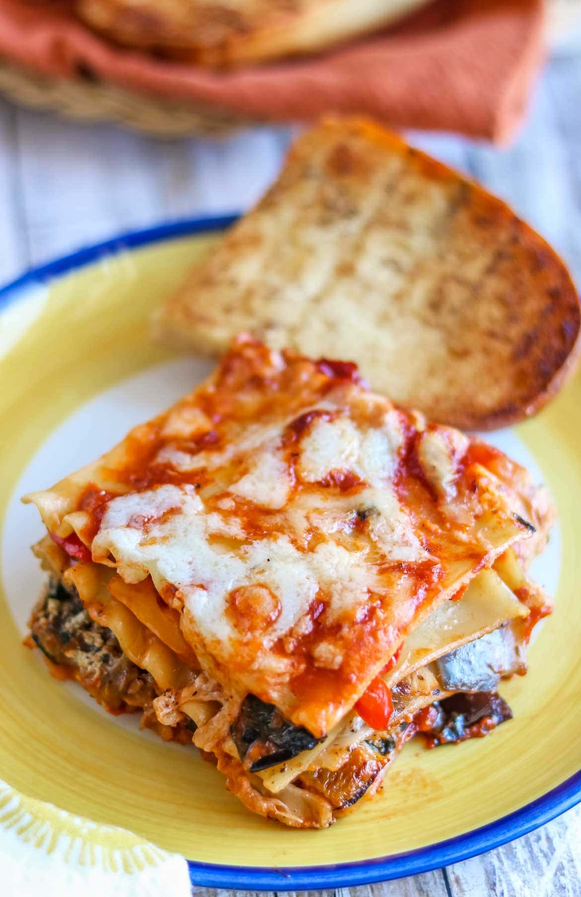 grilled vegetarian lasagna made with no bake lasagna noodles