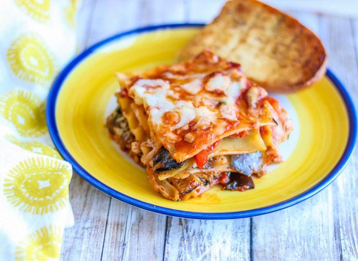 No Boil Vegetarian Lasagna with Roasted Vegetables