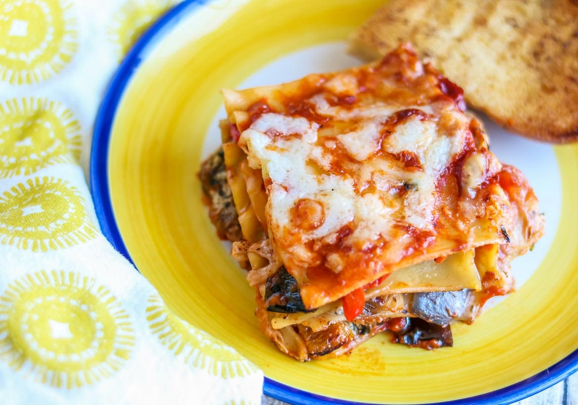 No boil vegetarian lasagna with roasted veggies