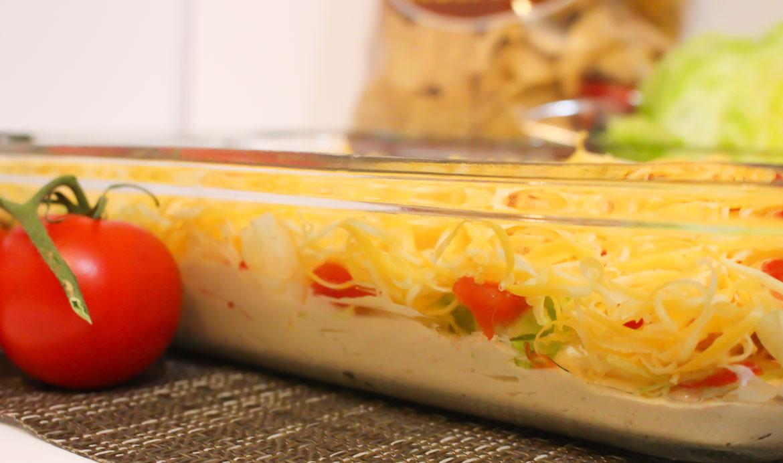 easy cold taco dip for Doritos or Tostidos