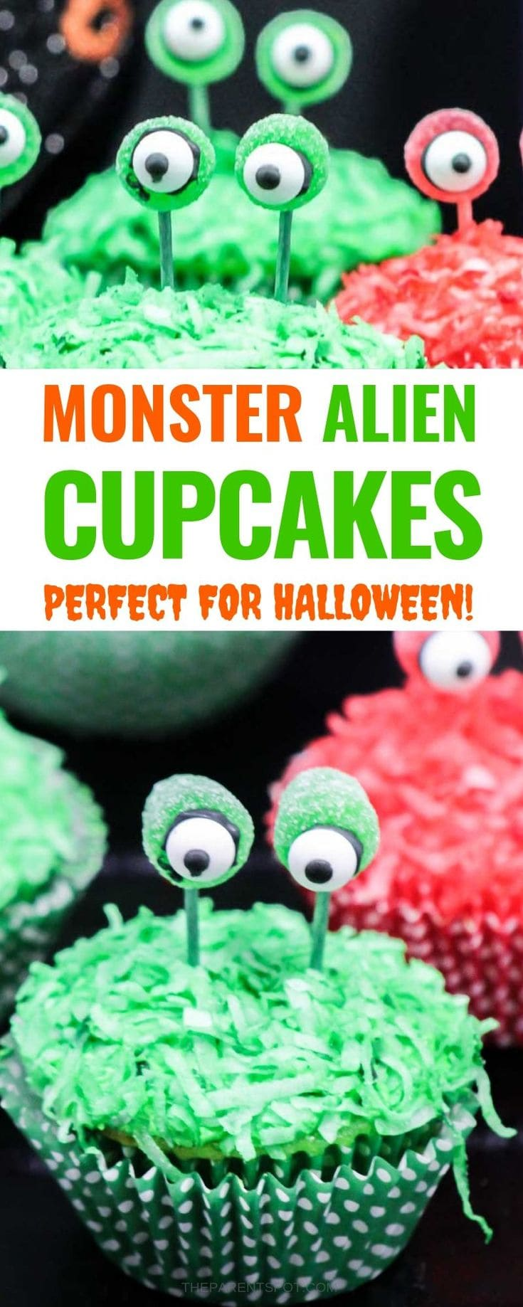 Monster alien cupcakes with eye stalks are fun for Halloween