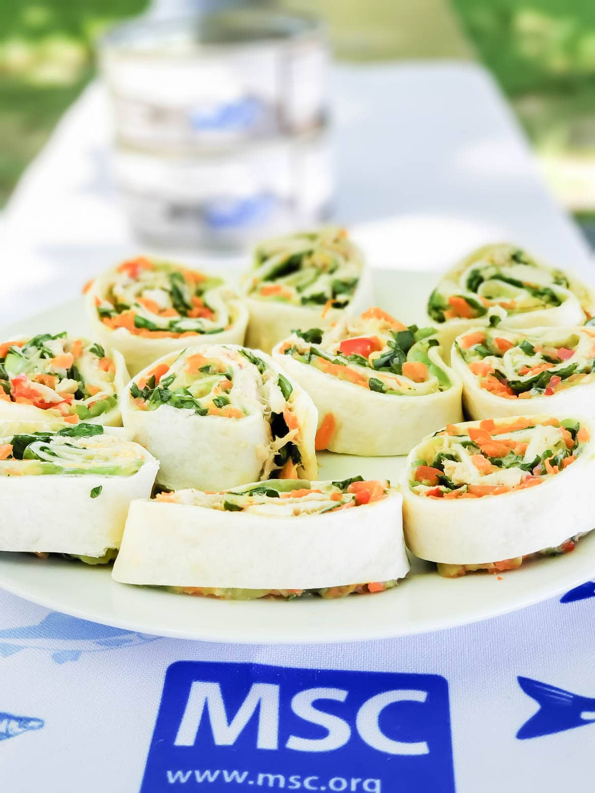 tuna pinwheels made with MSC certified tuna and fresh veggies