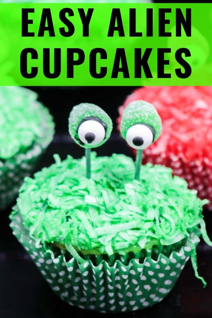 These easy alien cupcakes are perfect for Halloween and fun for kids to DIY