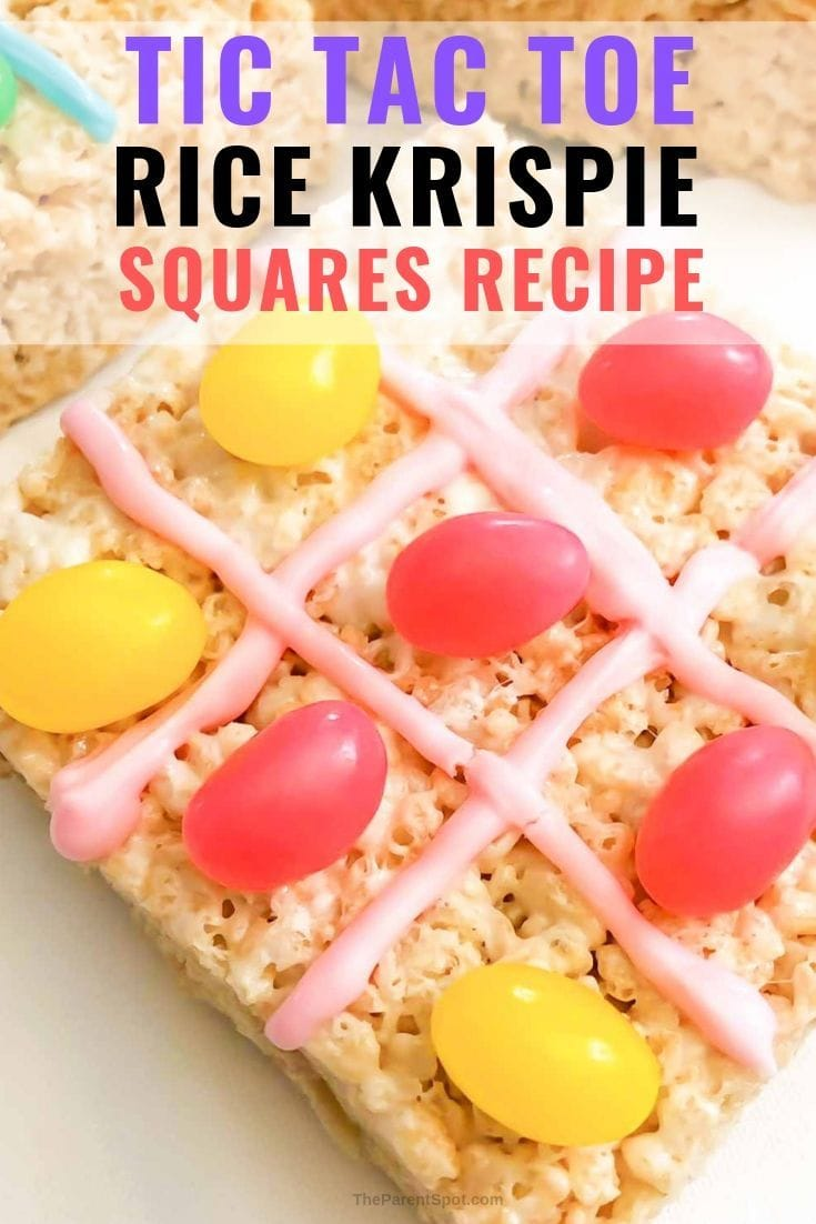 easy homemade Rice Krispie squares recipe is a fun tic tac toe game
