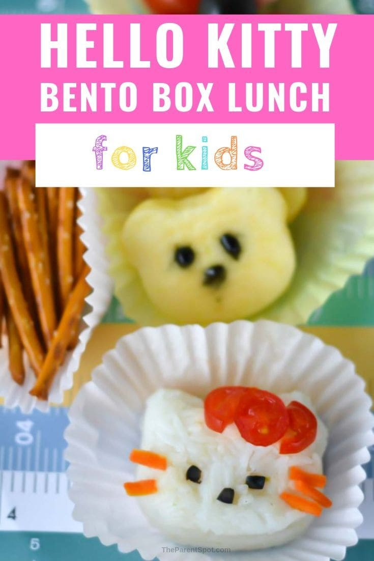bento box lunch for kids is Hello Kitty themed