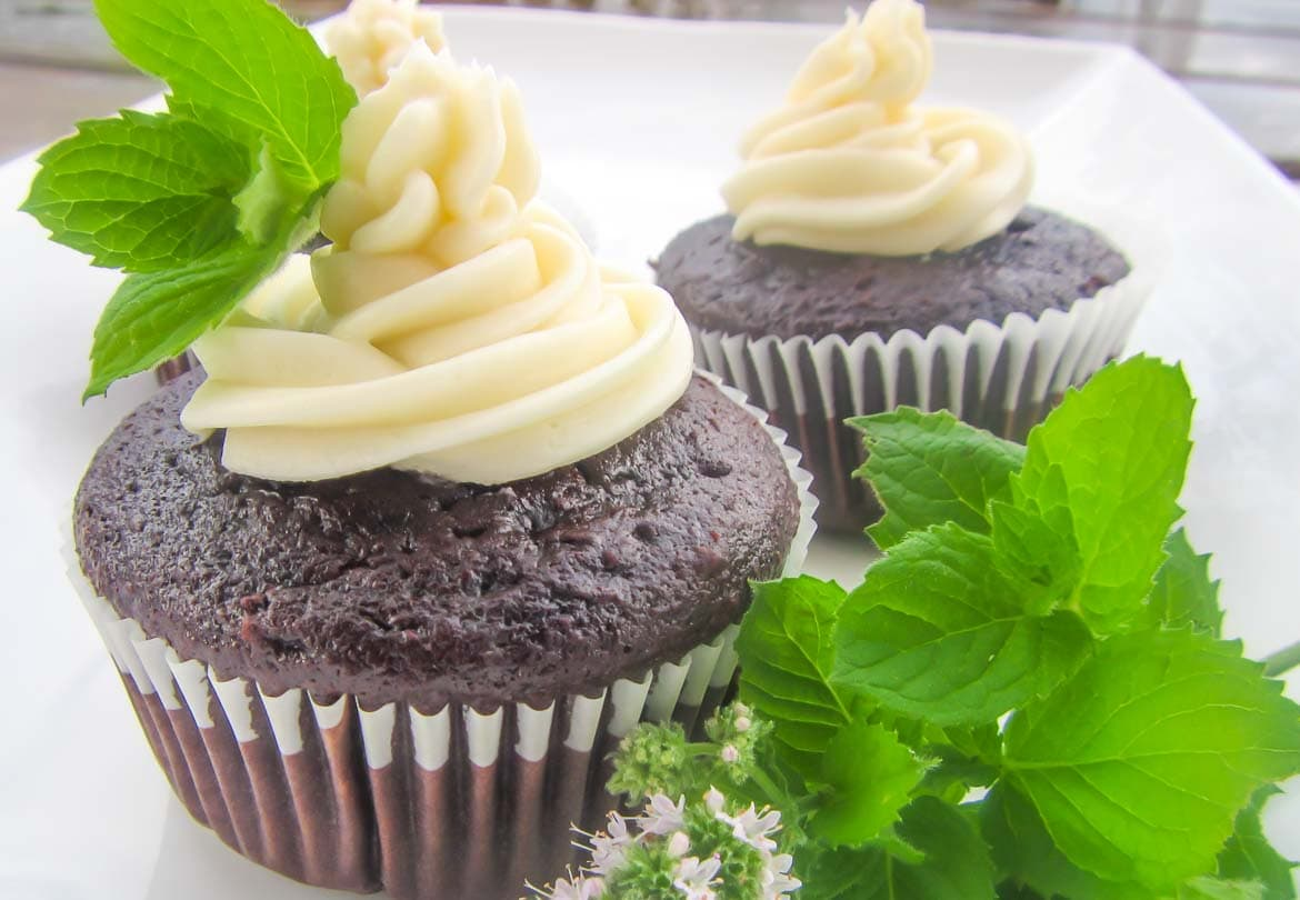 chocolate mint cupcakes with fresh mint