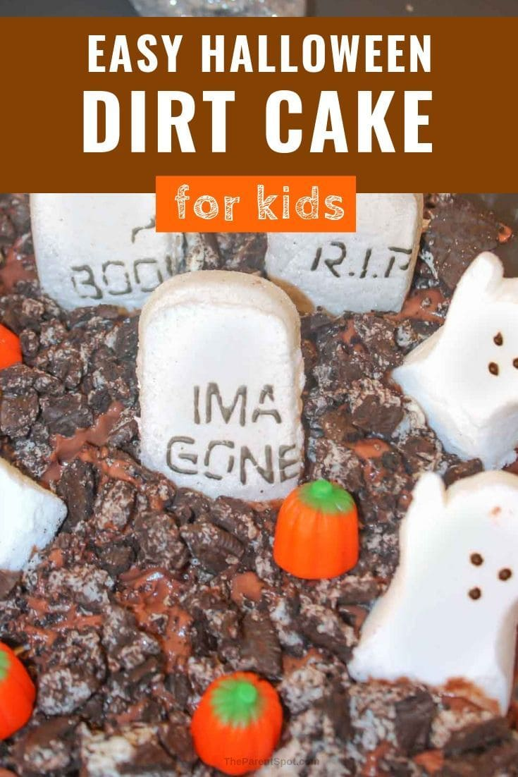 fun and easy Halloween graveyard dirt cake