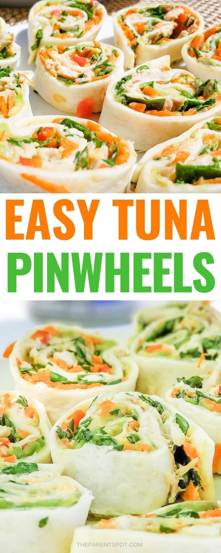 easy tuna pinwheels packed with fresh veggies