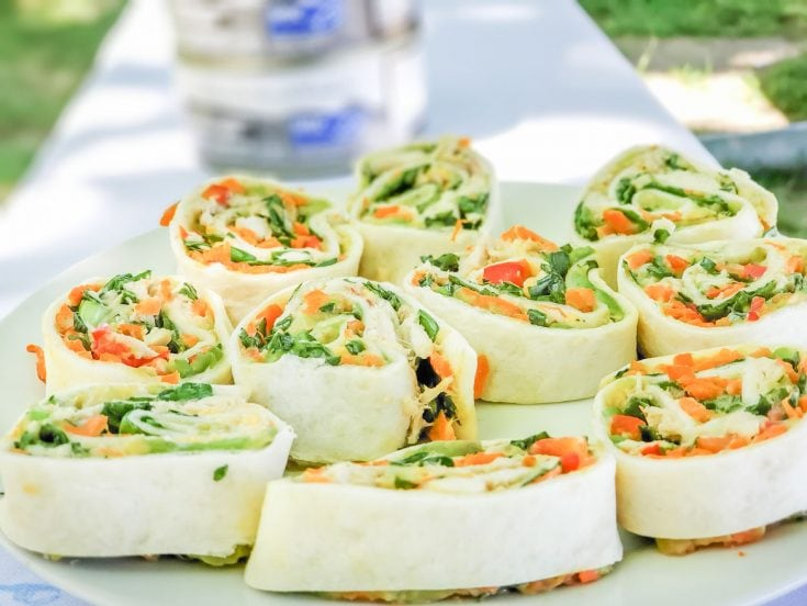 easy tuna pinwheel sandwiches with fresh vegetables