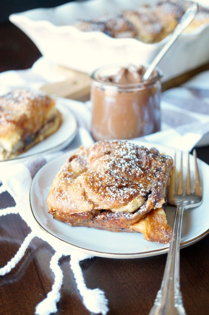 Banana Nutella Croissant French Toast recipe Casserole