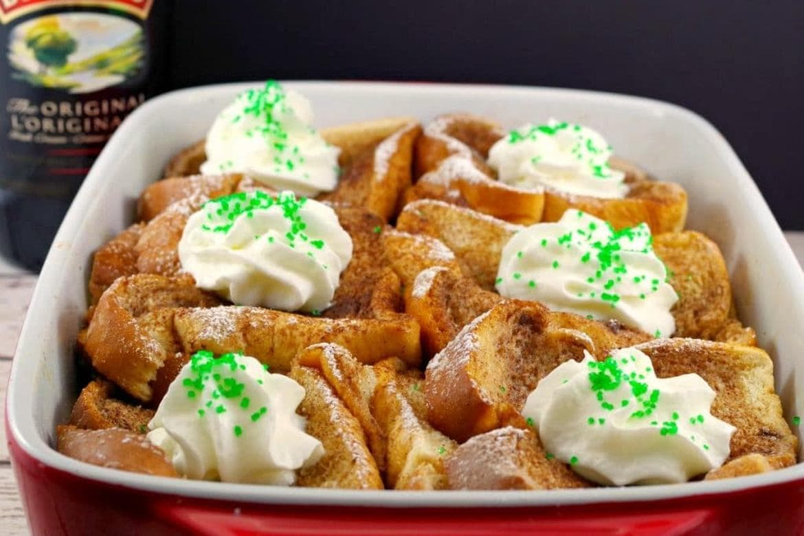 Baileys Irish Cream Overnight French Toast recipe Casserole by Food Meanderings