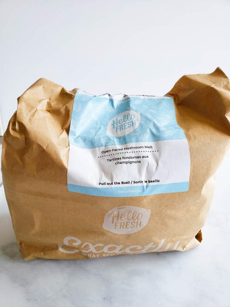 HelloFresh open faced mushroom melt with yam fries vegetarian ingredients in bag