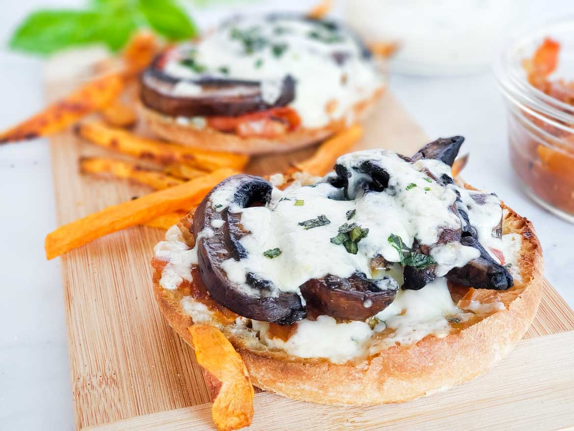 Tasty open faced mushroom melt with yam fries from HelloFresh vegetarian recipes