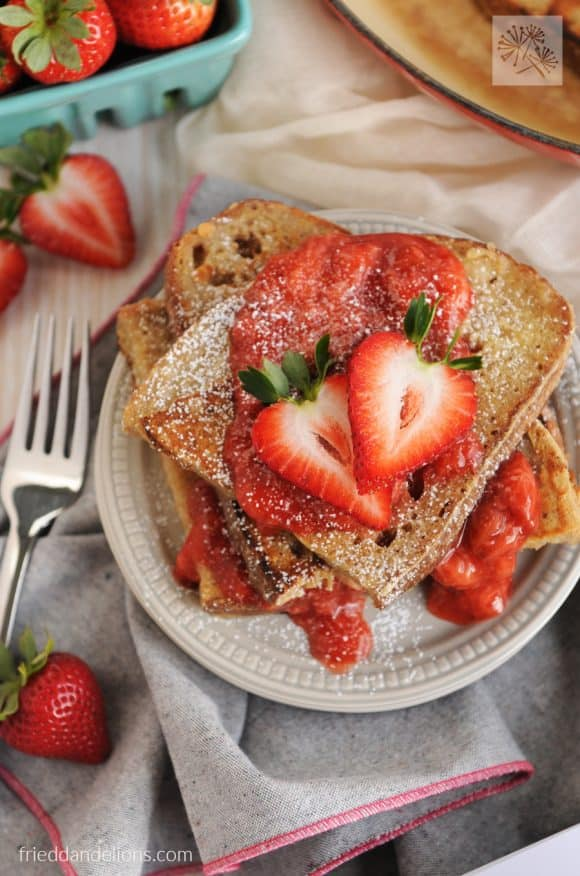 Vanilla French Toast with Strawberry Sauce by Fried Dandelions