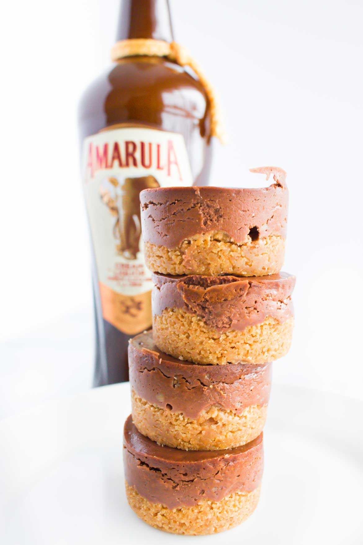 chocolate mini cheesecakes with graham cracker crust and Amarula Creme liqueur