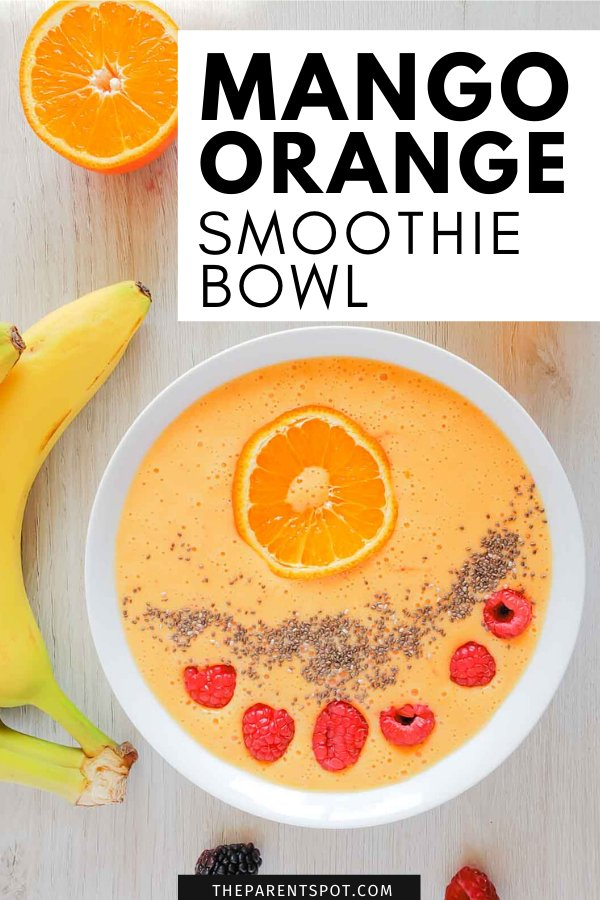 Mango orange smoothie bowl with banana