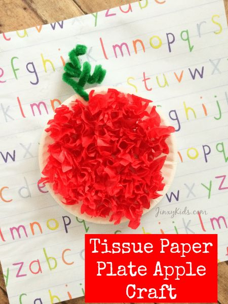 Tissue Paper Plate Apple Craft