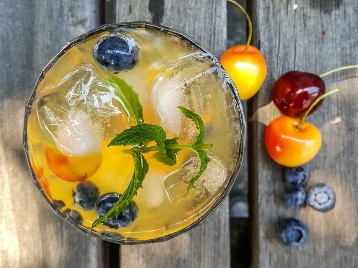 white wine sangria with fresh fruit and white rum