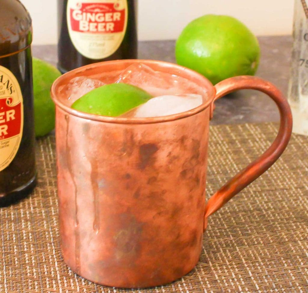Moscow Mule in a copper mug with lime