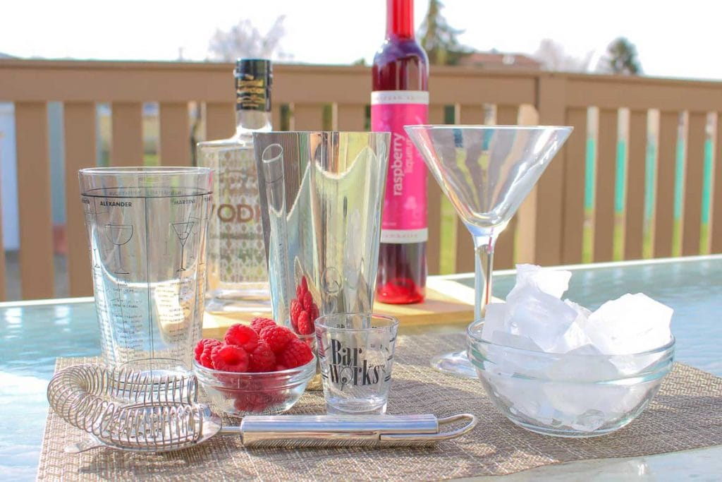 ingredients for raspberry martini