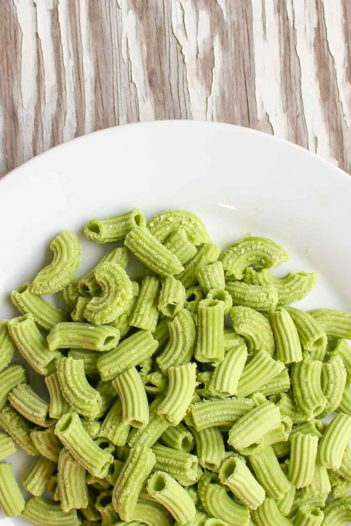 homemade spinach pasta on a plate