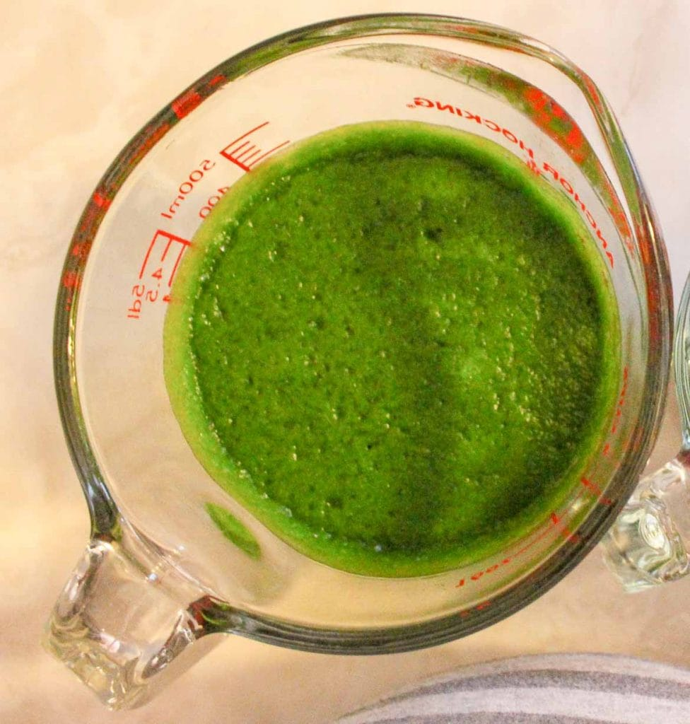 Homemade Spinach juice for spinach Pasta