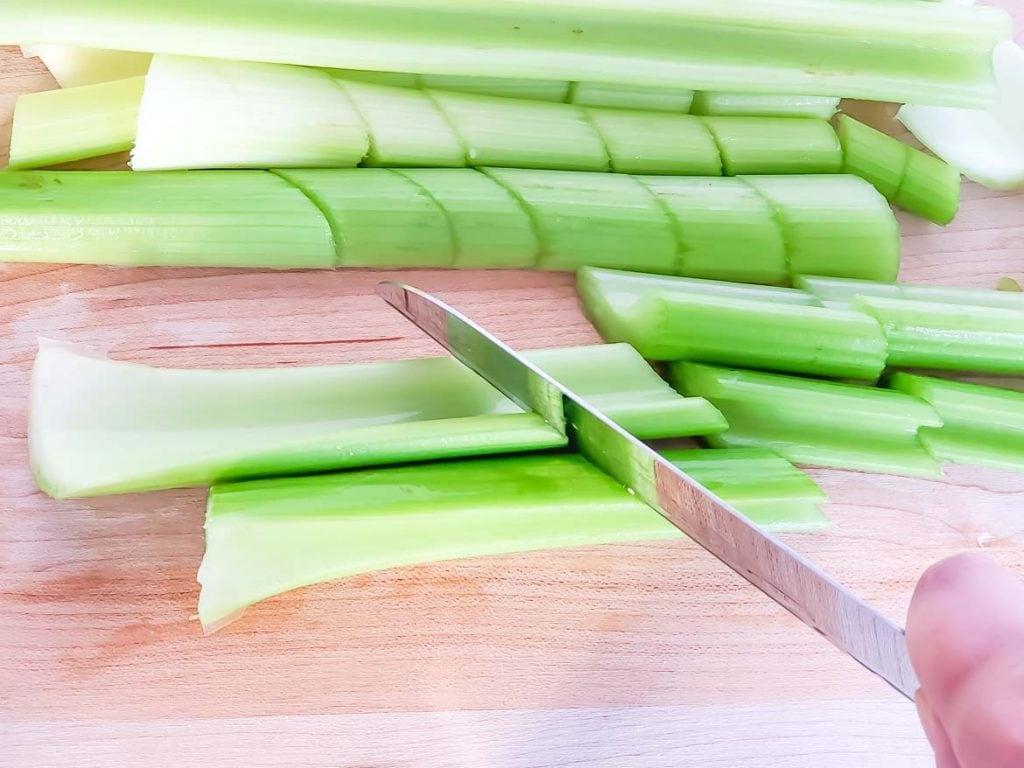 cutting celery