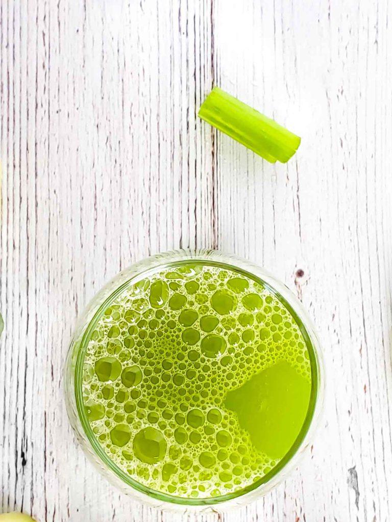 making celery juice in a Vitamix blender