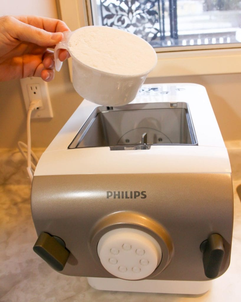 mixing flour in the Phillips Pasta Maker