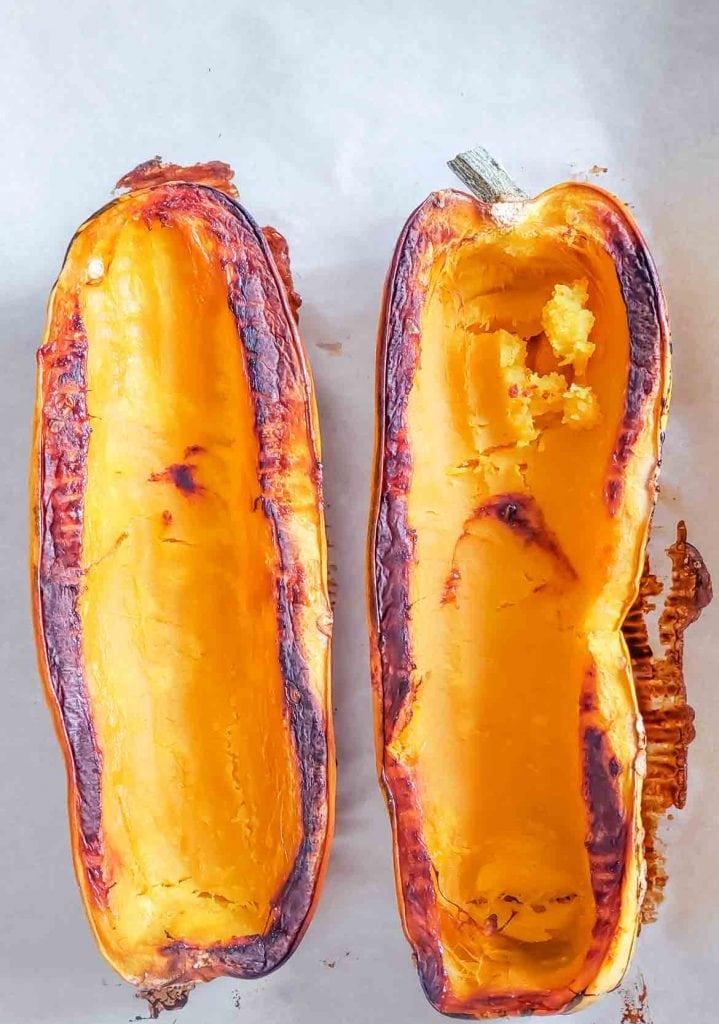 roasted delicata squash halves