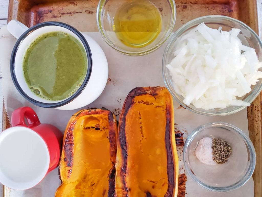 ingredients for roasted delicata squash soup