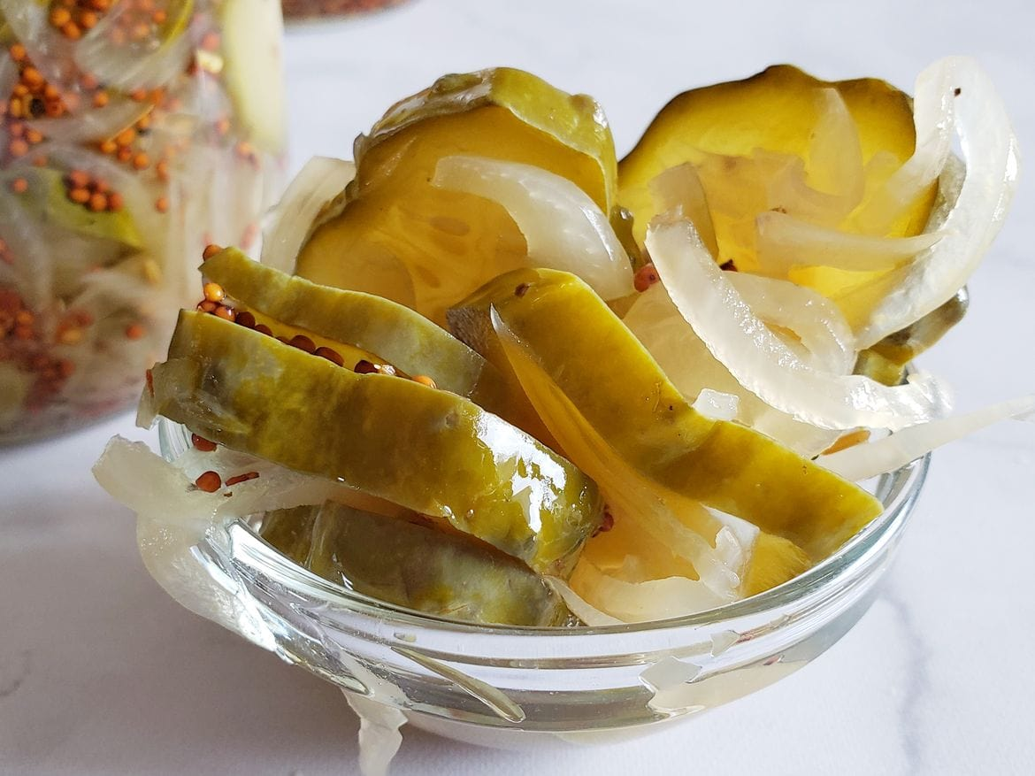 sweet and crispy bread and butter pickles
