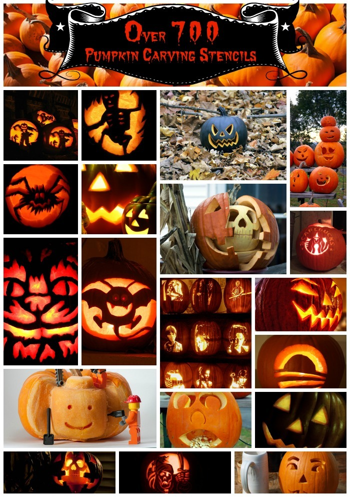 700 Pumpkin Carving Stencils Collage