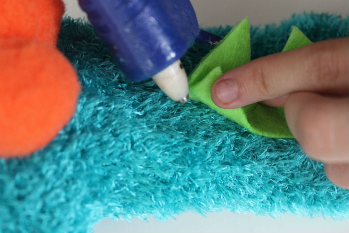 Adorable DIY Monster Sock Puppet Gluing Back