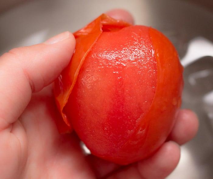 removing tomato peels