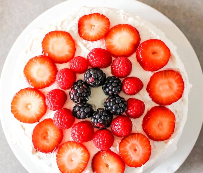 Chocolate Cake with Fresh Fruit and Whipped Cream from Scratch