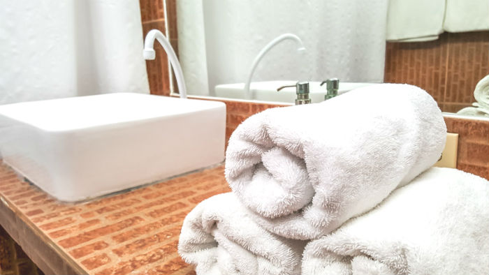 Clean towels and sink
