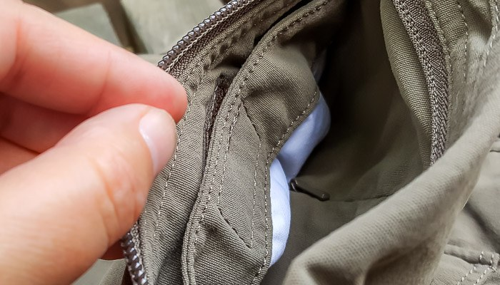 empty pants pocket close up