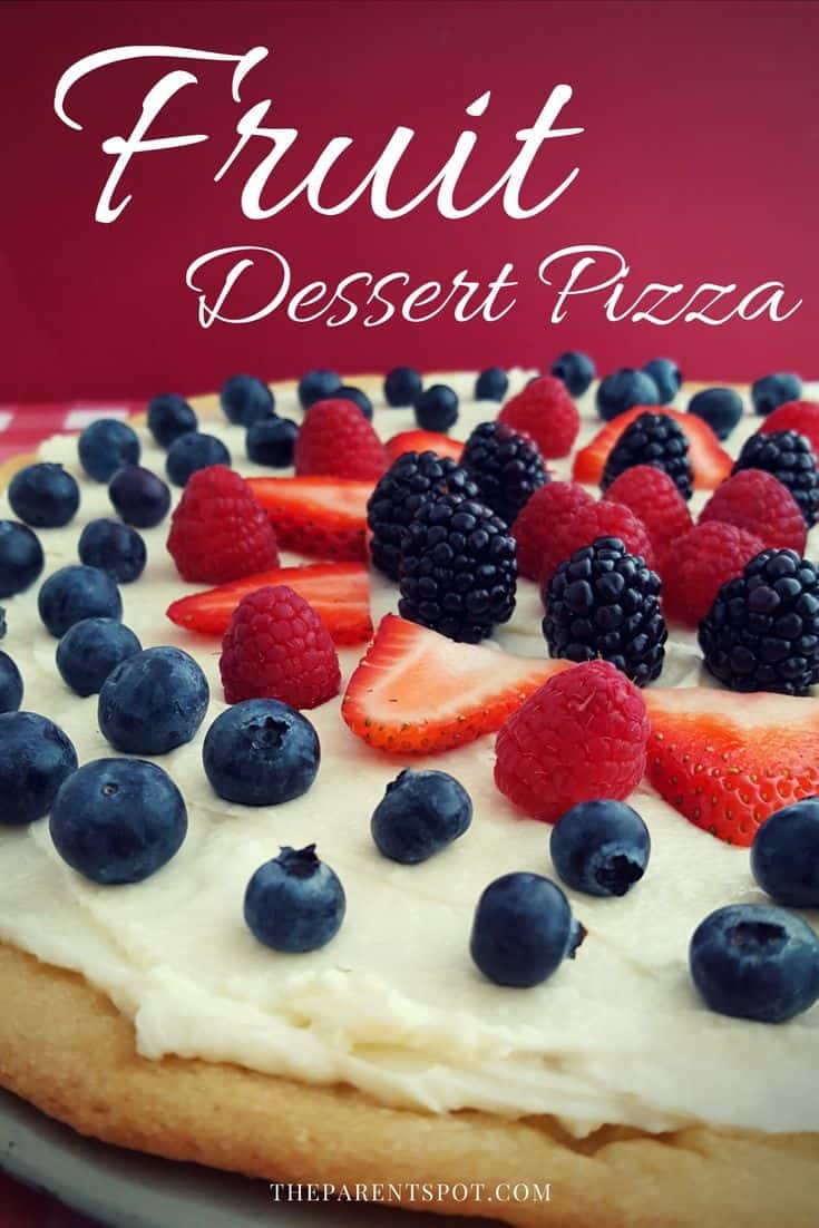 Dessert pizza with strawberry as sugar cookie crust and cream cheese. This tasty recipe is one of our family's favorites!