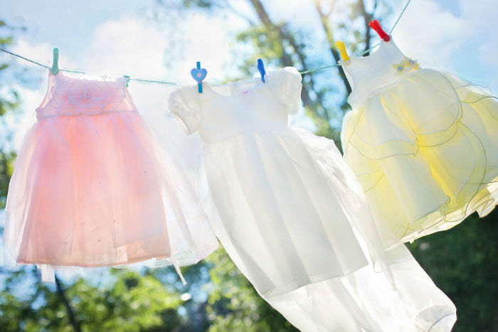 Dresses on clothesline